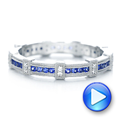 18k White Gold Blue Sapphire And Diamond Stackable Eternity Band - Video -  101907 - Thumbnail