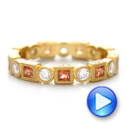 18k Yellow Gold Diamond And Orange Sapphire Stackable Eternity Band - Video -  101910 - Thumbnail