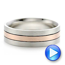 Custom Men's Palladium and Rose Gold Brushed Band - Interactive Video - 101912 - Thumbnail