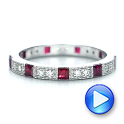 18k White Gold Diamond And Ruby Stackable Eternity Band - Video -  101915 - Thumbnail