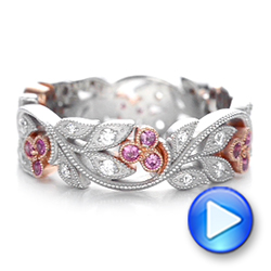 18k White Gold And 18K Gold Diamond And Pink Sapphire Organic Stackable Eternity Band - Video -  101919 - Thumbnail