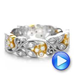 18k White Gold And 18K Gold Two-tone Organic Diamond Stackable Eternity Band - Video -  101920 - Thumbnail