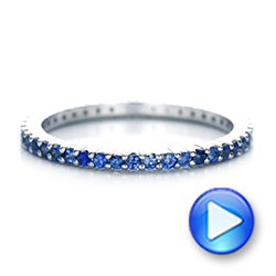 18k White Gold Blue Sapphire Stackable Eternity Band - Video -  101928 - Thumbnail