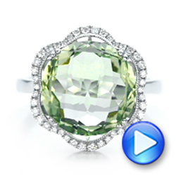 Green Quartz Checkerboard And Diamond Halo Ring - Video -  101939 - Thumbnail