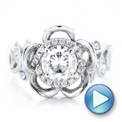 Custom Organic Flower Halo Diamond and Blue Topaz Engagement Ring - Interactive Video - 101946 - Thumbnail