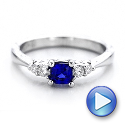 14k White Gold Custom Engraved Blue Sapphire And Diamond Engagement Ring - Video -  101957 - Thumbnail