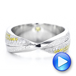 Platinum Custom Yellow And White Diamond Wedding Band - Video -  101979 - Thumbnail