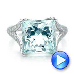 Custom Aquamarine and Pave Diamond Ring - Interactive Video - 101982 - Thumbnail