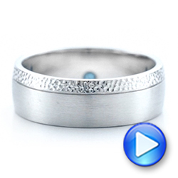 Custom Brushed and Hammered Men's Wedding Band - Interactive Video - 101983 - Thumbnail