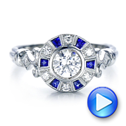 Art Deco Style Blue Sapphire Halo and Diamond Engagement Ring - Interactive Video - 101987 - Thumbnail