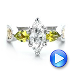 Custom Two-Tone Marquise Diamond and Peridot Engagement Ring - Interactive Video - 101990 - Thumbnail