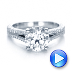 14k White Gold 14k White Gold Custom Diamond Engagement Ring - Video -  101994 - Thumbnail