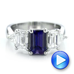 Custom Alexandrite and Diamond Engagement Ring - Interactive Video - 101995 - Thumbnail
