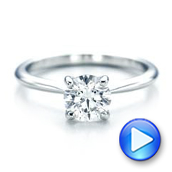 14k White Gold 14k White Gold Custom Solitaire Engagement Ring With Tapered Shank - Video -  102005 - Thumbnail