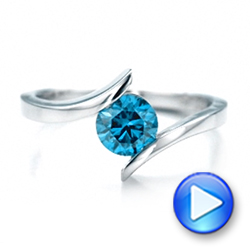 Custom Blue Diamond Solitaire Engagement Ring - Interactive Video - 102014 - Thumbnail