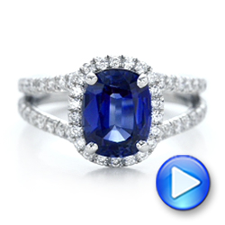 Custom Blue Sapphire and Diamond Halo Engagement Ring - Interactive Video - 102018 - Thumbnail