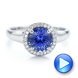 Custom Blue Sapphire and Diamond Halo Engagement Ring - Interactive Video - 102028 - Thumbnail