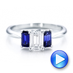 Platinum Platinum Custom Diamond And Blue Sapphire Engagement Ring - Video -  102031 - Thumbnail