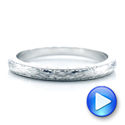 Platinum Custom Hand Engraved Wedding Band - Video -  102041 - Thumbnail