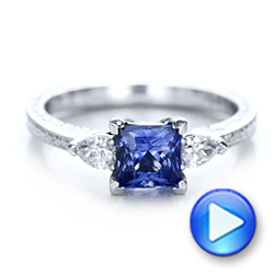 14k White Gold Custom Three Stone And Blue Sapphire Engagement Ring - Video -  102046 - Thumbnail