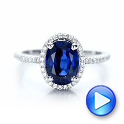 18k White Gold Custom Blue Sapphire And Diamond Engagement Ring - Video -  102049 - Thumbnail