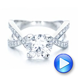 Custom Platinum and Diamond Engagement Ring - Interactive Video - 102065 - Thumbnail