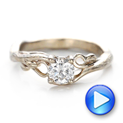 Platinum Platinum Custom Organic Diamond Solitaire Engagement Ring - Video -  102067 - Thumbnail
