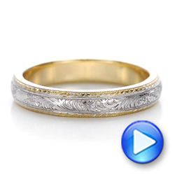 14k Yellow Gold And 14K Gold Custom Two-tone Hand Engraved Men's Wedding Band - Video -  102069 - Thumbnail