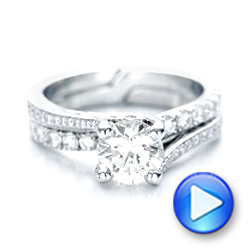 Custom Blue Sapphire and Diamond Engagement Ring - Interactive Video - 102070 - Thumbnail