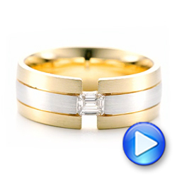 14k Yellow Gold And Platinum Custom Two-tone Men's Band - Video -  102073 - Thumbnail