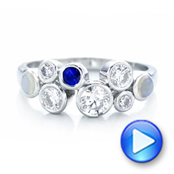 Platinum Custom Blue Sapphire Opal And Diamond Ring - Video -  102075 - Thumbnail
