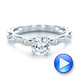 Platinum Platinum Custom Diamond In Filigree Engagement Ring - Video -  102077 - Thumbnail