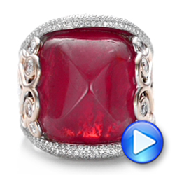 14K Gold And 14k Rose Gold Custom Spinel And Pave Diamond Anniversary Ring - Video -  102081 - Thumbnail