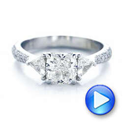 Custom Three Stone Diamond Engagement Ring - Interactive Video - 102091 - Thumbnail