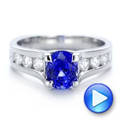Custom Blue Sapphire and Channel Set Diamonds Engagement Ring - Interactive Video - 102102 - Thumbnail