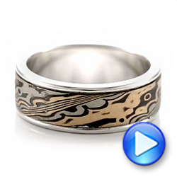Custom Men's Mokume Wedding Band - Video -  102114 - Thumbnail