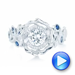 18k White Gold Organic Flower Halo Diamond And Blue Sapphire Engagement Ring - Video -  102115 - Thumbnail