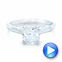 Diamond and Blue Sapphire Knife Edge Engagement Ring - Interactive Video - 102116 - Thumbnail
