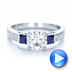 Custom Moissanite and Blue Sapphire Engagement Ring - Interactive Video - 102128 - Thumbnail