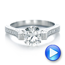 Platinum Custom Diamond And Blue Sapphire Engagement Ring - Video -  102134 - Thumbnail