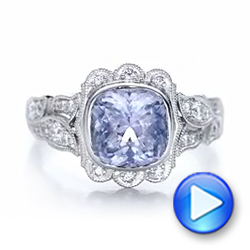 Custom Light Blue Sapphire and Diamond Engagement Ring - Interactive Video - 102135 - Thumbnail
