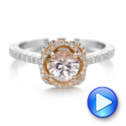 Custom Pink Sapphire and Diamond Halo Engagement Ring - Interactive Video - 102136 - Thumbnail