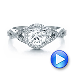 Platinum Custom Diamond Engagement Ring - Video -  102138 - Thumbnail
