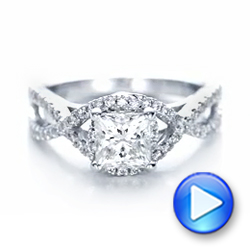 14k White Gold Custom Diamond Engagement Ring - Video -  102148 - Thumbnail