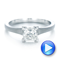 Custom Princess Cut Diamond Solitaire Engagement Ring - Interactive Video - 102150 - Thumbnail