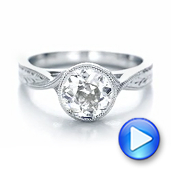 Custom Solitaire Diamond Engagement Ring - Interactive Video - 102152 - Thumbnail