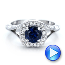 14k White Gold Custom Blue Sapphire And Diamond Halo Engagement Ring - Video -  102153 - Thumbnail