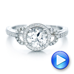 Custom White Pearl and Diamond Halo Engagement Ring - Interactive Video - 102162 - Thumbnail