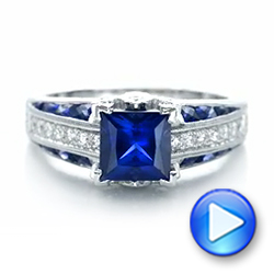 18K Custom Blue Sapphire and Diamond Engagement Ring - Interactive Video - 102163 - Thumbnail