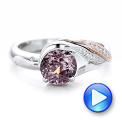 Custom Two-Tone Pink Zircon and Diamond Engagement Ring - Interactive Video - 102166 - Thumbnail